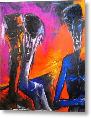 Metal Print featuring the painting Three Men Before A Setting Sun by Kenneth Agnello