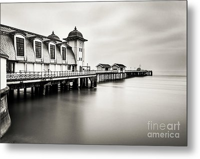Three Minutes At Penarth Pier Mono Metal Print by Steve Purnell