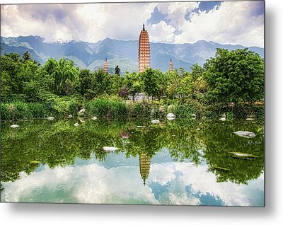 Metal Print featuring the photograph Three Pagodas by Wade Aiken