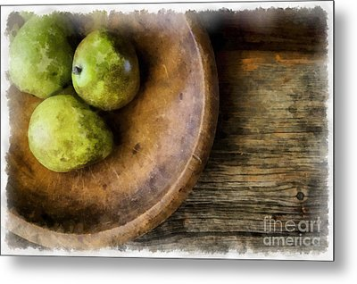 Three Pear Still Life Metal Print by Edward Fielding