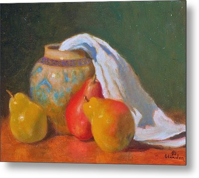 Three Pears With Persian Vase Metal Print by David Olander