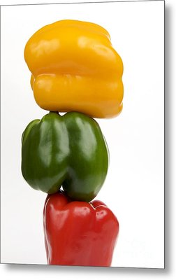 Three Peppers Metal Print by Bernard Jaubert