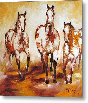 Three Pinto Indian Ponies Metal Print by Marcia Baldwin