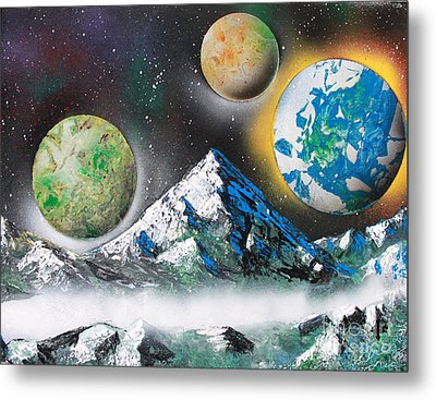 Metal Print featuring the painting Three Planets by Greg Moores