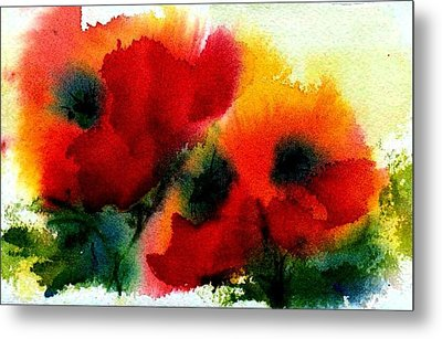Three Poppies Metal Print by Anne Duke