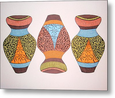 Metal Print featuring the drawing Three Pots by Beth Akerman