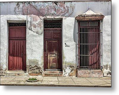 Three Red Doorways Metal Print