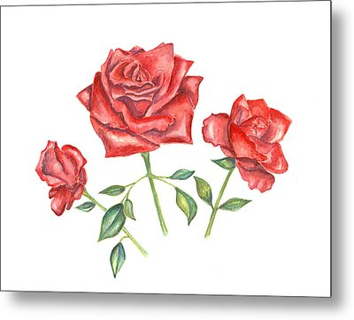 Metal Print featuring the mixed media Three Red Roses by Elizabeth Lock