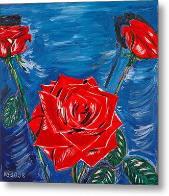 Three Red Roses Four Leaves Metal Print