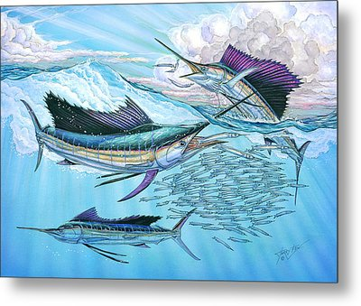 Three Sailfish And Bait Ball Metal Print