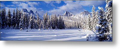 Three Sisters Bow Valley Kananaskis Metal Print by Panoramic Images