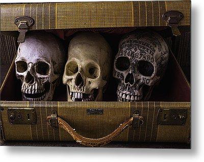 Three Skulls In Suitcase Metal Print by Garry Gay