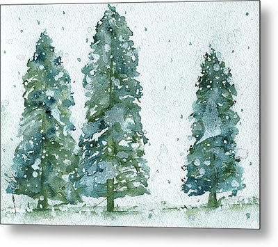 Metal Print featuring the painting Three Snowy Spruce Trees by Dawn Derman