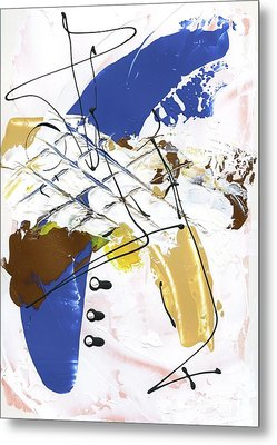 Metal Print featuring the painting Three Color Palette Blue 3 by Michal Mitak Mahgerefteh