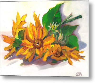 Three Sunflowers Metal Print by Susan Thomas