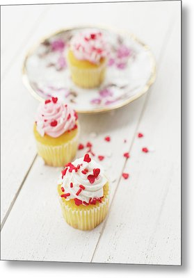Metal Print featuring the photograph Three Tiny Cupcakes by Rebecca Cozart