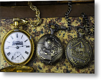 Three Train Pocket Watches Metal Print by Garry Gay