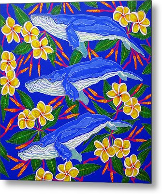 Metal Print featuring the painting Three Whales  by Debbie Chamberlin