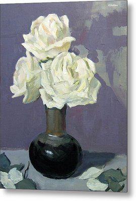 Three White Roses,abstract Background Metal Print