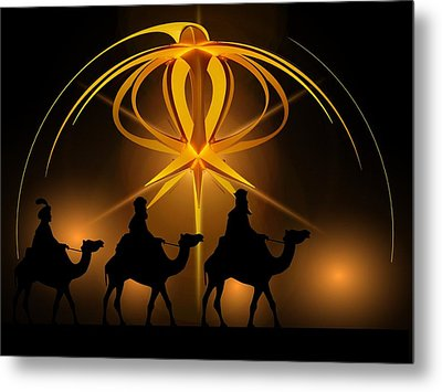 Three Wise Men Christmas Card Metal Print