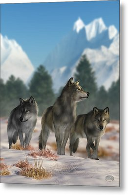 Three Wolves Metal Print