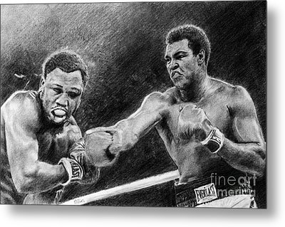 Thrilla In Manilla Pencil Drawing Metal Print
