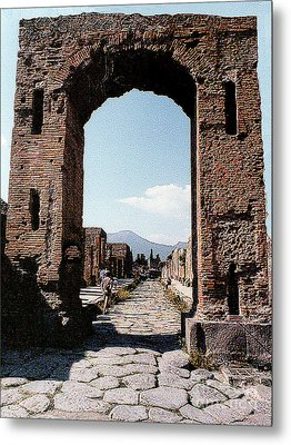 Metal Print featuring the photograph Through The Arched City Gate Into Reclaimed Pompei, Italy by Merton Allen