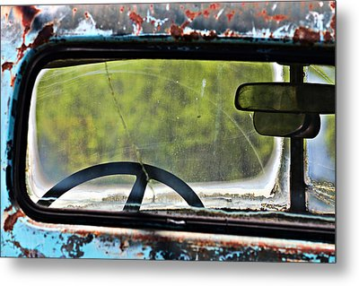 Through The Back Window- Antique Chevrolet Truck- Fine Art Metal Print by KayeCee Spain