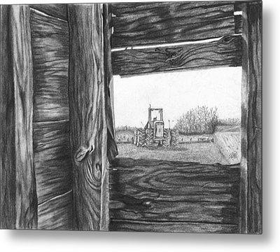 Through The Barn Metal Print by Dean Herbert
