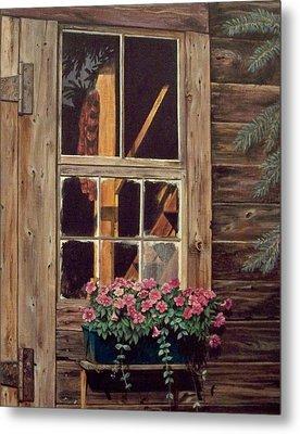 Through The Cabin Window Metal Print by Lynda  Lawrence
