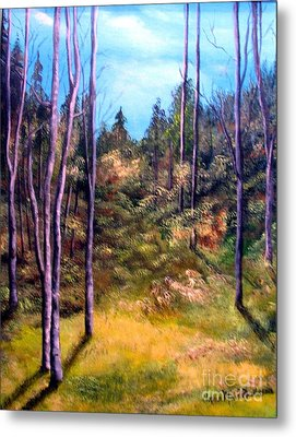 Metal Print featuring the painting Through The Trees by Anna-maria Dickinson