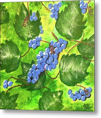 Metal Print featuring the painting Through The Vines by Cynthia Morgan