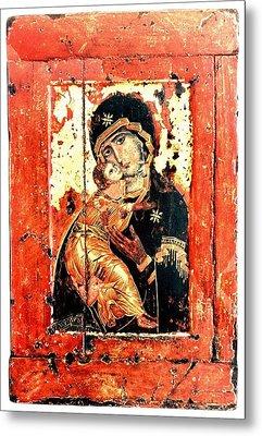 Ththe Virgin Eleusa Of Vladimir - 17 Century Metal Print by Evgeni  Andreev