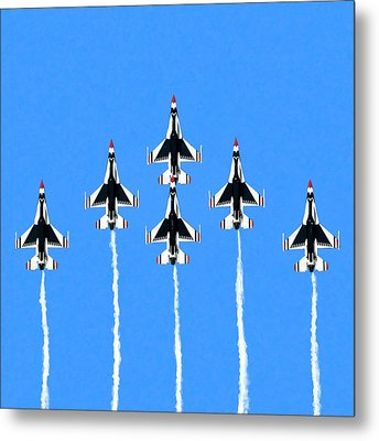 Metal Print featuring the mixed media Thunderbirds Flying In Formation by Mark Tisdale