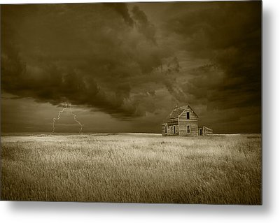 Thunderstorm On The Prairie In Sepia Metal Print by Randall Nyhof