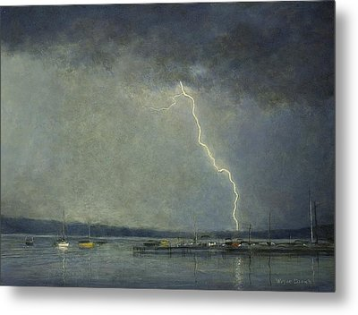 Metal Print featuring the painting Thunderstorm Over Cazenovia Lake by Wayne Daniels
