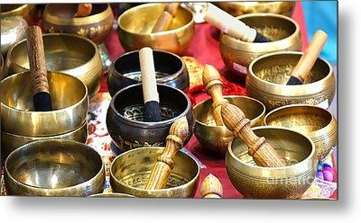 Tibetan Bronze Singing Bowls Metal Print by Yali Shi