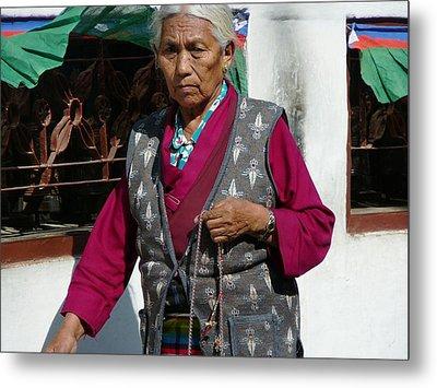 Tibetan Grandmother In Meditation Metal Print by Dagmar Batyahav