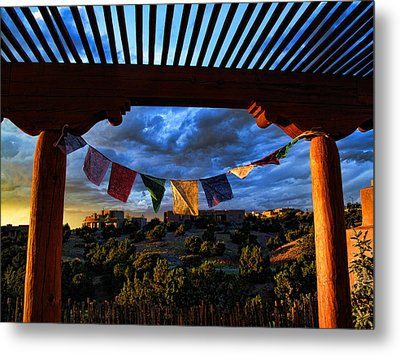 Metal Print featuring the photograph Tibetan Prayer Flags Outside My Office At Sundown by Paul Cutright