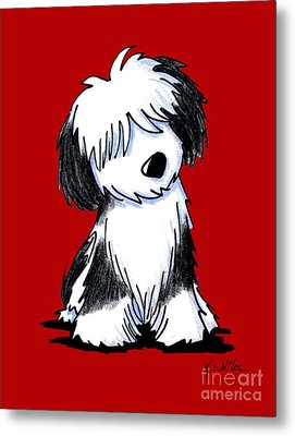 Tibetan Terrier On Red Metal Print
