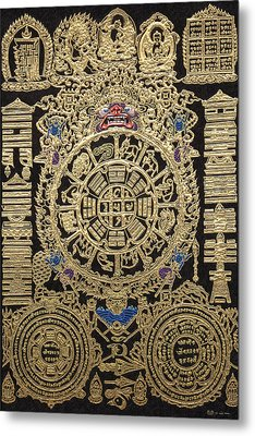 Tibetan Thangka - Tibetan Astrological Diagram Metal Print by Serge Averbukh