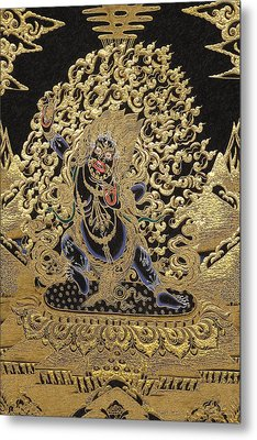 Tibetan Thangka - Vajrapani - Protector And Guide Of Gautama Buddha Metal Print by Serge Averbukh