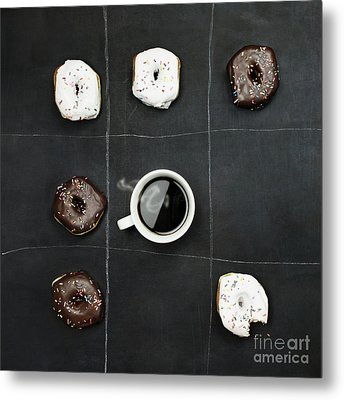 Metal Print featuring the photograph Tic Tac Toe Donuts And Coffee by Stephanie Frey