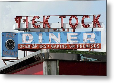 Metal Print featuring the photograph Tick Tock Diner by Matthew Bamberg