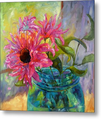 Metal Print featuring the painting Tickled Pink by Chris Brandley