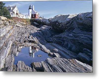 Tide Pool Reflection Pemaquid Point Lighthouse Maine Metal Print by George Oze