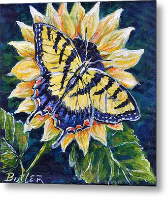 Tiger And Sunflower Metal Print by Gail Butler
