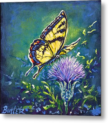 Tiger And Thistle 1 Metal Print by Gail Butler
