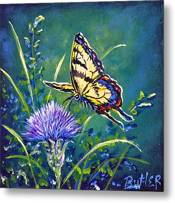 Tiger And Thistle 2 Metal Print by Gail Butler