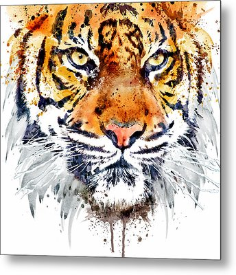 Tiger Face Close-up Metal Print by Marian Voicu